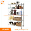 Commercial Garage Storing Shelf in Chrome Finish with 4 Layers Shelves