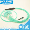 Om3 Aqua 24 Strand/Fiber MTP/MPO LC Fiber Patch Cable with Fan-out Cable