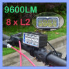 Newest Patent CREE 8 LED Xml L2 9600lm Bike Bicycle Light+Battery Pack+ Euro Charger