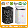 Custom Square Suger Coffee Tea Metal Box Storage Tin with Airtight Inner Lid