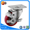 Swivel Red PU 75mm Caster Wheel with Top Lock Brake, Ball Bearing