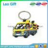 2D Car Keychain Soft PVC Material with Silver Metal Key Holder