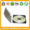 Square CD Tin Case with Zipper, Metal Tin DVD Box