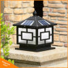 Black Outdoor Garden Light LED Solar Powered Pillar Post Lamp