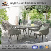 Well Furnir T-015 100% Polyester Shower Resistant Fabric Seat Pads All Weather Rattan Dining Set