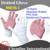 7g White Nylon Knitted Glove with Red PVC Dots & Reinforced Fingertip