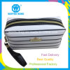 Ladies PU Leather Black White Stripes Cosmetic Bag