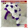 Bridal Wedding Bouquet Teardrop Cascade White&Purple Rose Pearl Flowers (B6065)