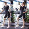 Womens High Elastic Solid Color Yoga Leggings Quick Drying Tight Nine Points Sport Yoga Pants