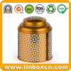 Black Leaf Tea Caddy Tin for Golden Metal Tea Canister
