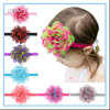 Artificial Flower Baby Hair Accessories Headbands Chiffon Elastic Hairband for Fancy Baby Girls
