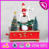 Hot New Products for 2015 Christmas Carousel Music Box, Wooden Music Box with Hand Crank, Christmas Gift Wooden Music Box W07b014b