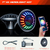 New APP Controlled LED Headlights Hi/Low Beam + Color Chasing Halo Bluetooth Control 7inch Headlamps for Jeep Wrangler Jl Jk