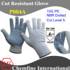 13G PE Knitted Glove with NBR Dotted Palm/ En388: 454X