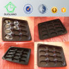 Frozen Food Packaging Supplies Black Round Plastic Oyster Tray with Compartments