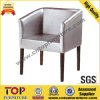 White Silver Wooden Coffee Leisure Chair