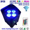DMX Wireless Battery Powered Smart LED Uplight 4*18W RGBWA+UV for Wedding