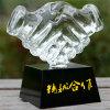 Shaking Hands Crystal Trophy & Award for Cooperative Partner