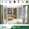 Double Panel Storm Proof PVC Residential French Door with Grill
