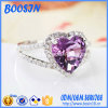 Custom Cheap Purple Crystal Heart 925 Silver Ring for Wedding