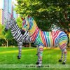 Customized Grassland Ornament Resin Craft Life Size Fiberglass Zebra Sculpture