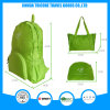 Hot Sale Light Green Foldable Bag Backpack Tote Bag Two Usage