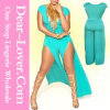 Cyan Flattering High Slit Jumpsuit