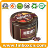 Round Tin Metal Can for Dark Chocolate with Gift Paper