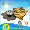 Customized 3D Whale Island of Stamping Metal Badge for Wholesale