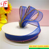 Manufacture Sheer/Organza Ribbon with Single Color Metallic Edges for Bows/Decoration/Xmas/Wrap/Garments Accessories/Christmas