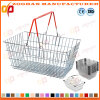 Popular Chrome Plated Metal Wire Supermarket Shopping Bag Basket (Zhb146)