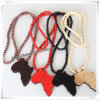 Fashion Shape Pendant with Wood Beads Chain Hip Hop Necklace (IO-wn017)