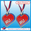 Russian Competition Medal Red Heart Shape Hard Enamel Metal Medallion with Lanyard
