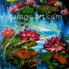 Stretched Lotus Flower Oil Paintings for Home Decoration