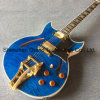 Quilted Maple Jazz Electric Guitar with Bigsby Ebony Fingerboard in Trans-Blueburst Color (TJ-288)