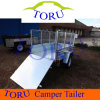 Galvanized Garden Tools ATV Dump Trailer, Single Axle 4t Box Tipper Semi Trailer for Farm Tractor Parts Kits, Steel