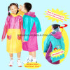 Colorful Stitching Raincoat with a Backpack for Children