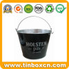 Tin Ice Bucket Metal Tin Barrel with Handle, Tin Pail