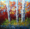 Heavy Textural Birch Tree Landscape Oil Paintings by Knife