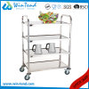 Square Tube 4 Tiers Hand Push Movable Tea Drinking Trolley in Small Size