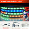 Color Chasing LED Wheel Ring Lights APP Bluetooth Controlled Ring Car Lighting Jeep Wrangler Rear Lighting SMD 5050 Chips
