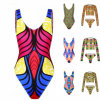 Fashion Sexy Lady African Print High Cut Thong Bikini Swimwear