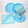 Blue Color Paper Straw Bag and Plate with Different Designs for Party