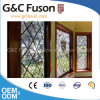 Wooden Grain Powder Coated Aluminium Window with Decerated Glazing