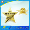 Customized Metal Gold Plated Star Shape Emblem Debossed Letters Club Carnival Souvenir Decoration Anniversary Lapel Pin with Butterfly Clasp (BG012)