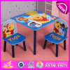 School Chair and Study Table for Kids, Wooden Study Table and Chair for Children Bedroom Furniture, One Table Two Chairs W08g148