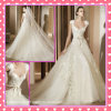 Cap Sleeves Tulle Alencon Lace Applique Hand Flowers Wedding Dress P007