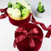 Custom Round Hot Stamping Flower Gift Box Packaging with Ribbon