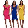 Frida Royal-Blue Ruffle Ponti Office Fashion Dress