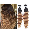 Brazilian Ombre Deep Wavy Hair, Ombre Deep Wave 3PCS Cheap Brazilian Ombre Hair Extensions Deep Curly Cheap Ombre Bundles of Hair
